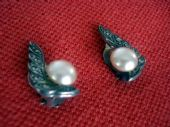 Classic Silver and Faux Pearl Earrings set with real Marcasite